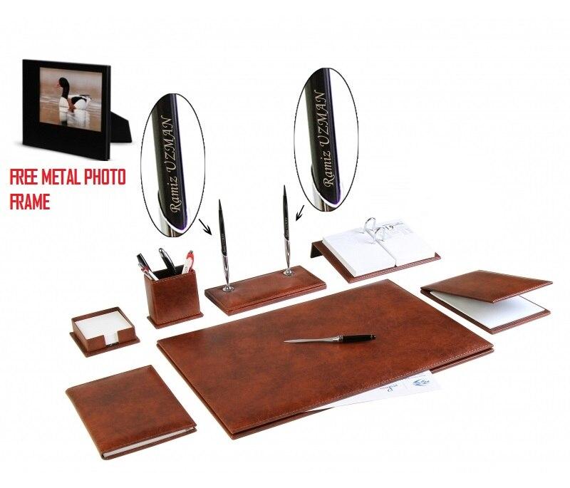 YENICE 9 pièces bureau affaires en cuir bureau Table Pad accessoires ensemble ensemble de bureau + votre nom sur stylo et cadeau de cadre Photo en métal gratuit