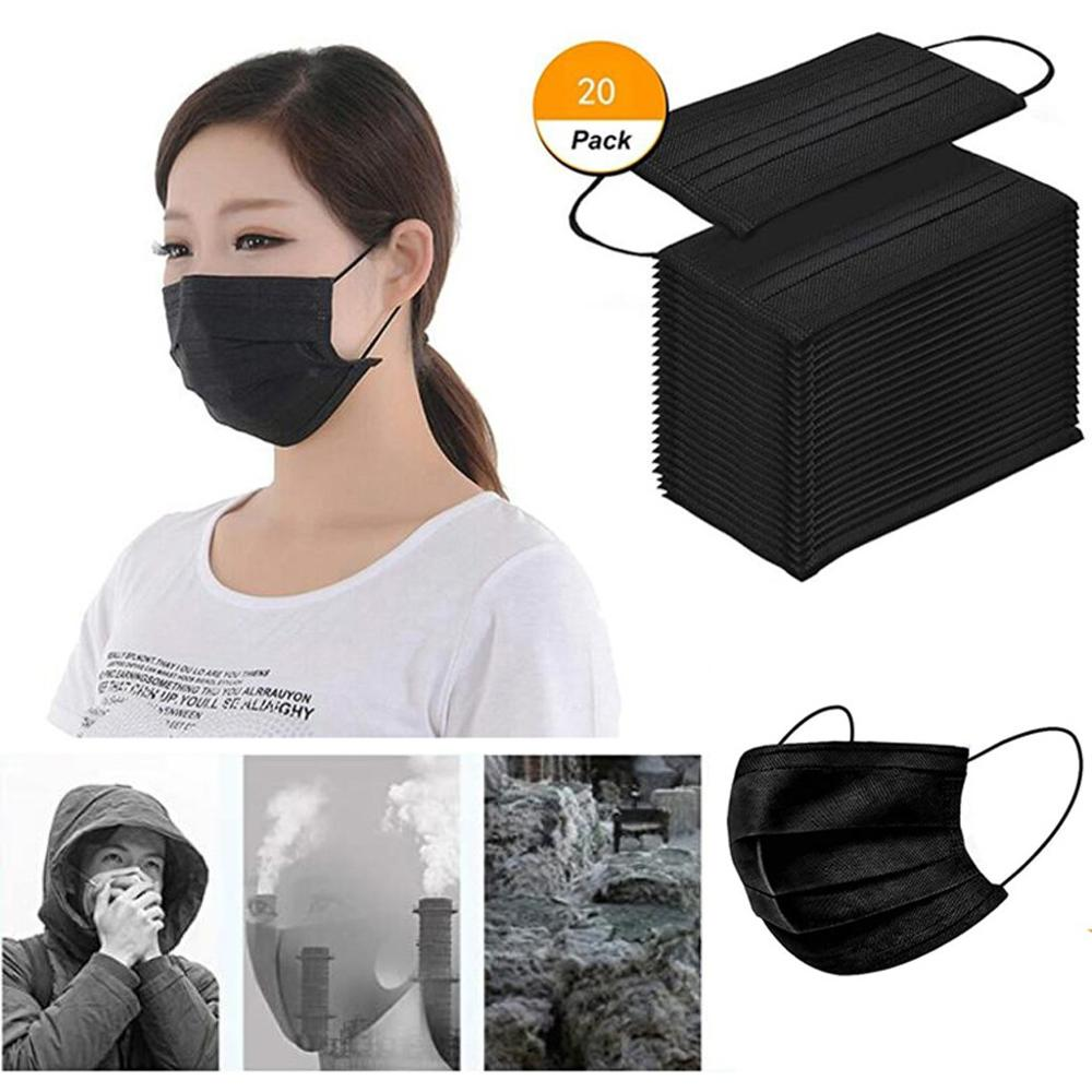 20PCS Disposable Black Cotton Adult Mouth Face Masks Non-woven Mask 3 Filter Activated Anti Pollutio