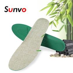 Sunvo Hand-Woven Bamboo Charcoal Linen Soft Cushion Shoe Pads Unisex Sports Running Insoles Linen Casual Inserts for Men Women