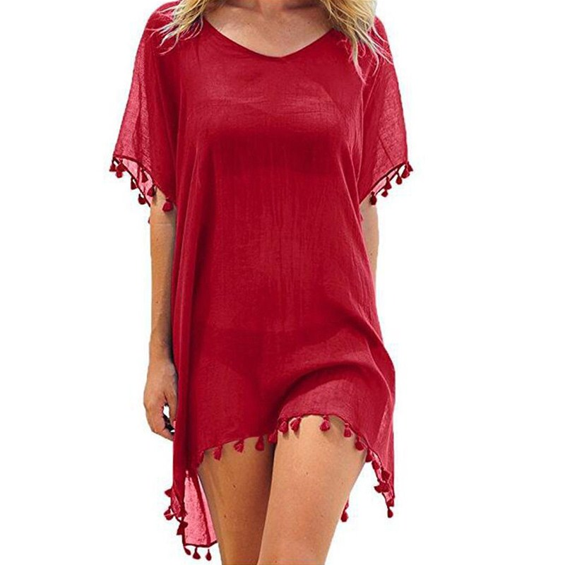 Ub7eeab29432e43e9a8ee1650bcdb6caeh Hirigin 2019 New Tassels Chiffon Beach Wear Swimsuit Cover Up Pareo Cap Swimwear Swimsuits Summer Mini Dress Loose Solid Ups