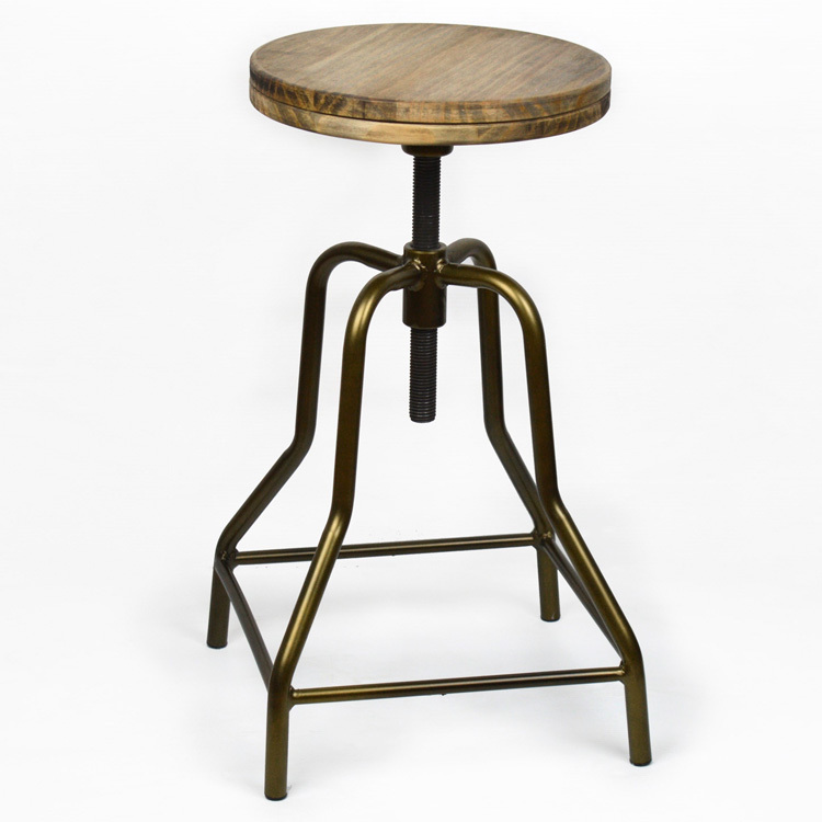 Pack Of 2 Stools Ndustrial Style-30X30X63 Cm-2 Layers 18mm-Old Gold