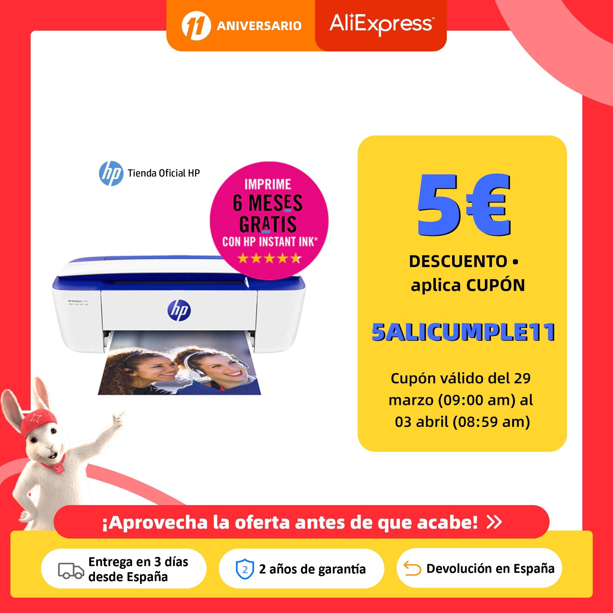 HP DeskJet 3760 (T8X19B), Impresora multifunción (imprime, escanea, copia, inyección de tinta, WiFi 802.11b/g/n integrada Impresoras  - AliExpress
