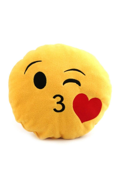 Эмодзи смайлик эмотикон желтая круглая подушка мягкая плюшевая подушка