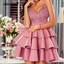 Homecoming-Dress Party-Dress Satin Short V-Neck A-Line Spaghetti-Strap CHENXIAO New