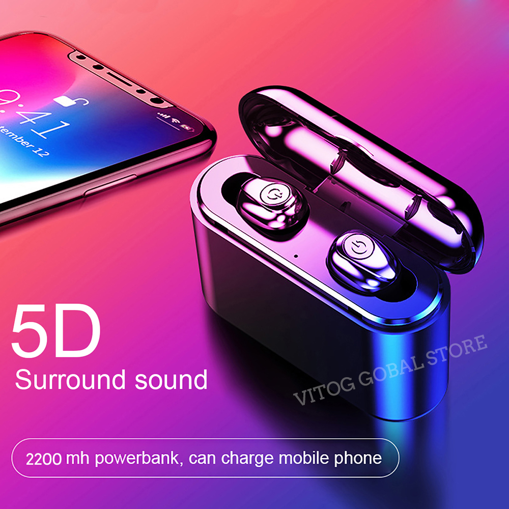 <font><b>X8</b></font> <font><b>Tws</b></font> True Wireless Bluetooth 5.0 Earphones <font><b>5D</b></font> Stereo Earbuds Mini Waterproof IPX5 Headphone 2200mAh Charging Box for Xiaomi image