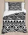 다른 검은 색 흰색 삼각형 기하학 라인 4 조각 3d 인쇄 면화 새틴 싱글 이불 커버 침구 세트 베개 커버 침대 시트