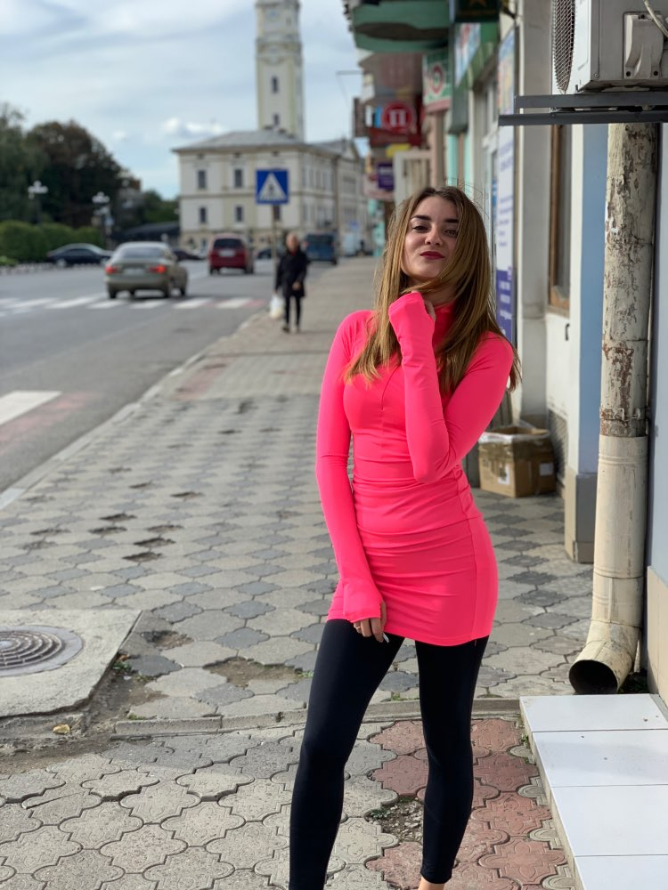Neon Pink Green Long Sleeve Bodycon Dress Spring Zipper Stretch Casual Sexy Short Night Club Dresses photo review