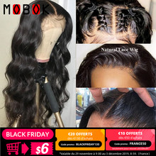 Mobok 13x4 Brazilan Body Wave Lace Front Human Hair Wigs Pre Plucked With Baby Hair For Black Women Natural Color 150% Remy Hair(China)
