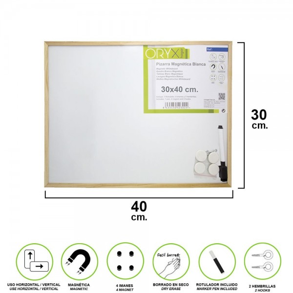 White Magnetic Blackboard 30x40 Cm. With Marker And 4 Magnets
