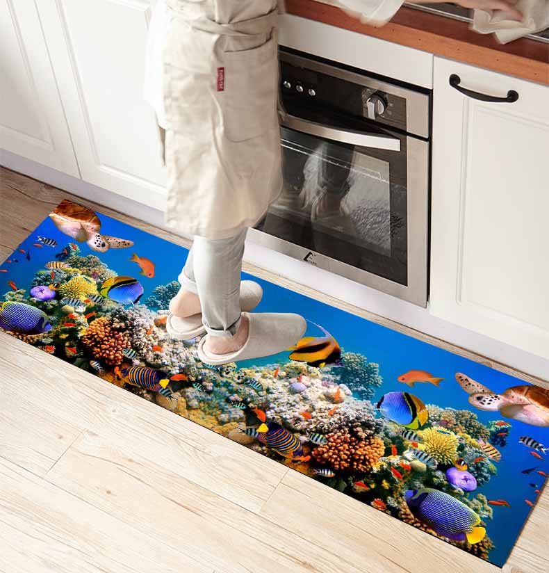 Else Blue Aquarium Under Sea World 3d Print Non Slip Microfiber Kitchen Counter Modern Decorative Washable Area Rug Mat
