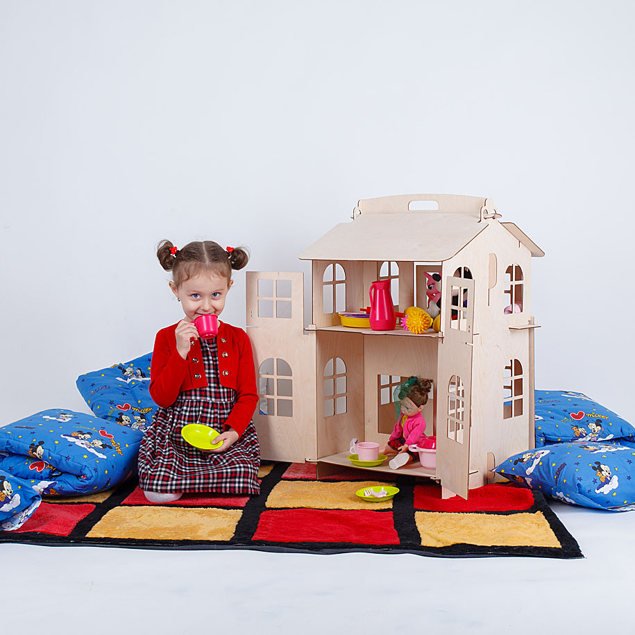 Dolls Home Toys House DIY Painting Construction  Board Education Toy Children Gifts Doll Accessory Block Part Puzzle DFB-2d
