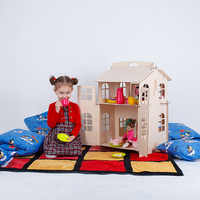 Puppen Hause Spielzeug haus DIY Malerei Bau Bord Bildung Spielzeug Kinder Geschenke puppe zubehör block teil puzzle DFB-2d
