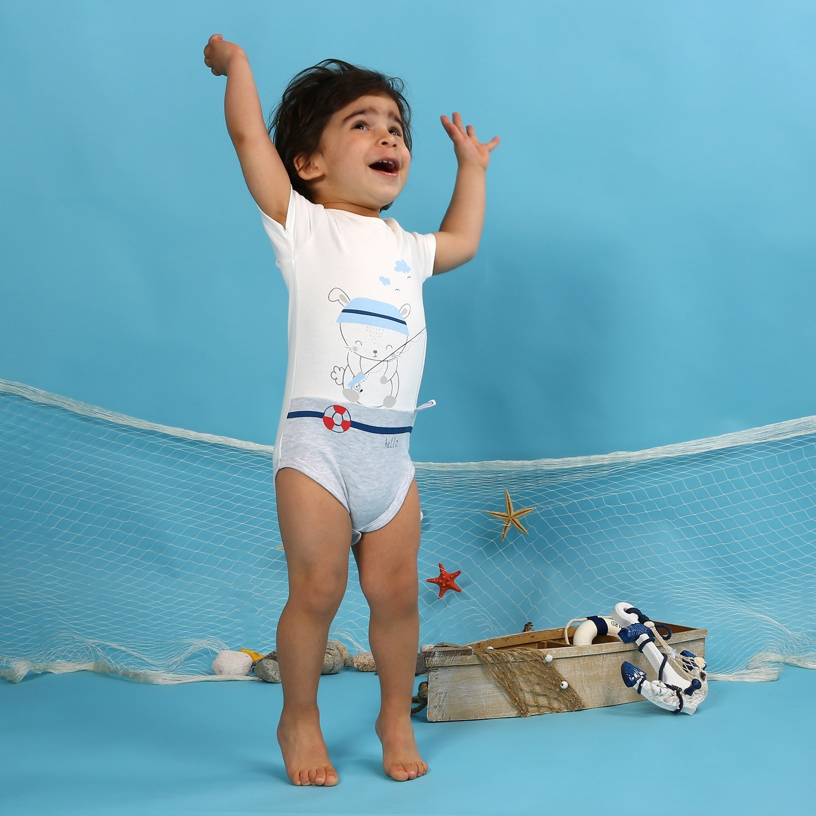 Ebebek HelloBaby Baby Boy Little Fisher Short Sleeve Bodysuit