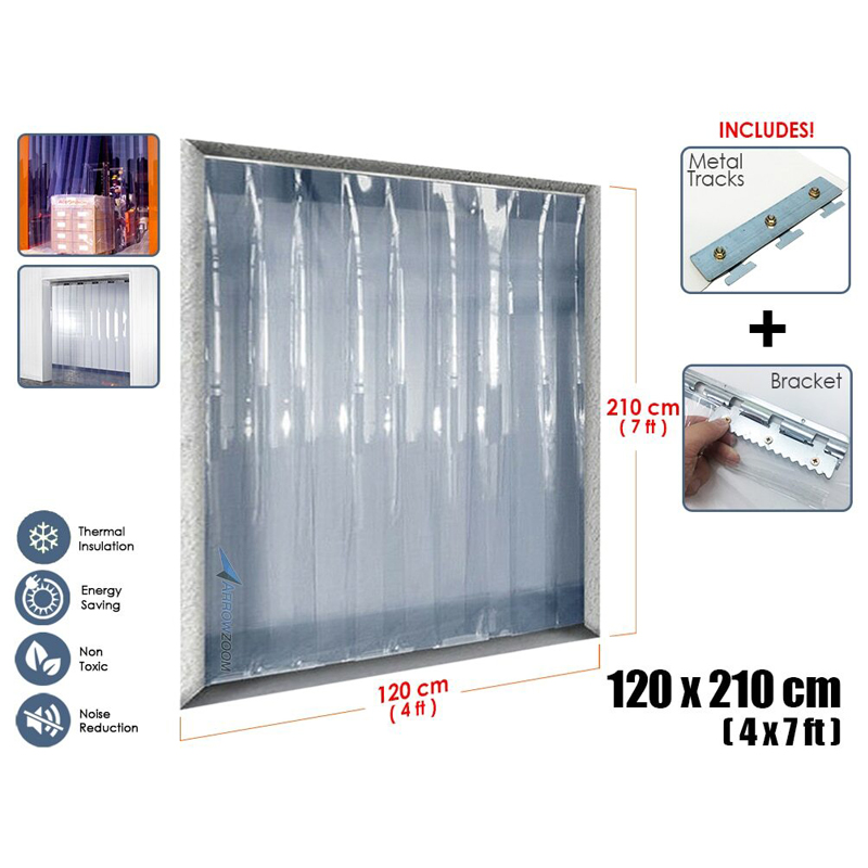 Arrowzoom 1 mm de espesor 4x7 pies habitación almacén puerta congelador plástico aislamiento térmico PVC tira cortina KK1173