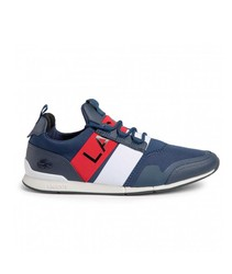 Sneaker Sneakers Lacoste Brand Menerva Elite Blue and White Colors lace-up Fashion Original Sports Sneakers