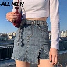 Jean Skirt Pockets Bottoms A-Line E-Girl Slim Vintage Sweet Y2k Fashion Mini High-Waist