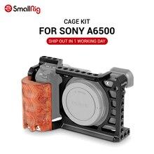 طقم هيكل قفصي الشكل للكاميرا من سونيتلاعب 6500 لكاميرا Sony A6500 مع مقبض خشبي شكل مقبض تركيب مثبت قفص A6500 2097