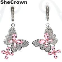 45x21mm Romantic Butterfly Shape Created Pink Morganite Natural CZ Ladies Silver Earrings