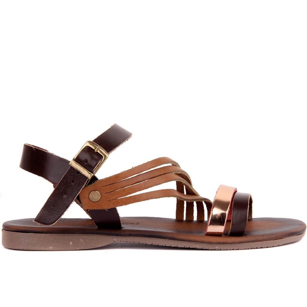 Sail Lakers-Brown, Tan Leather Women Sandals