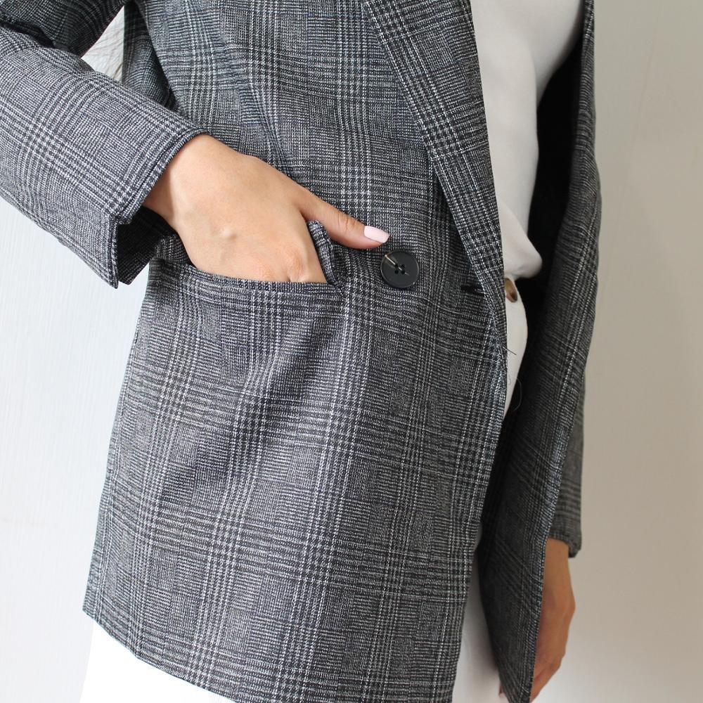 CBAFU autumn spring jacket women suit coats plaid outwear casual turn down collar office wear work runway jackets blazer N785 reviews №1 88693