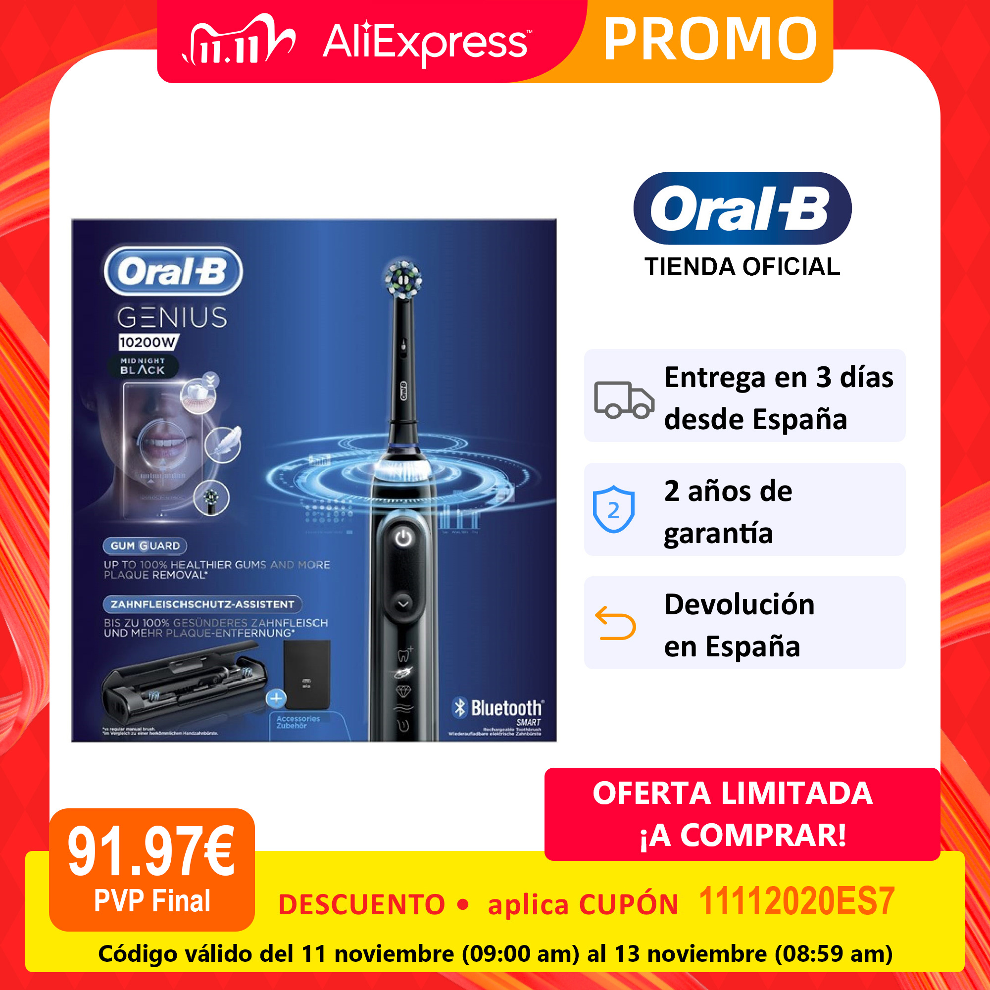 Oral B Genius 10200W, rechargeable electric toothbrush, charge indicator, up to 14 days, 4 brushed modes, 2 heads-0