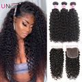 UNice Haar Curly Weave Menschliches Haar 3 Bundles Mit Verschluss 4PCS Brasilianische Haarwebart Bundles mit Spitze Schließung Lockige haar Produkte