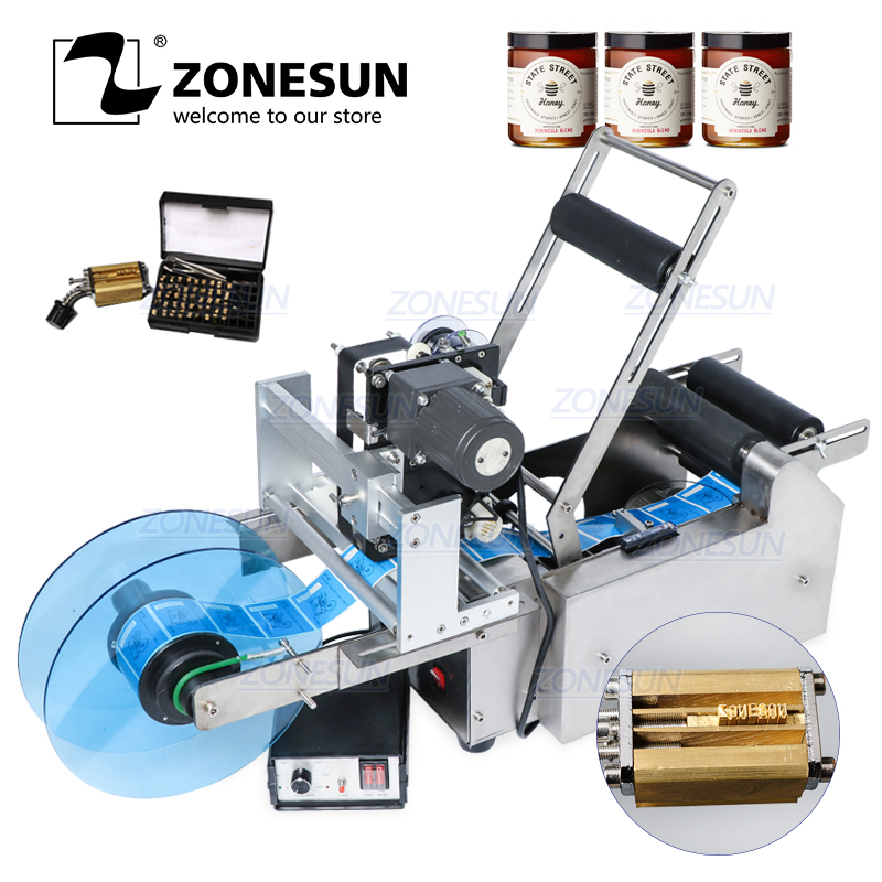 ZONESUN TB-YL50D Semi Automatic Round Bottle Labeling Machine Label Applicator With Date Printer Self Adhesive Label Dispenser