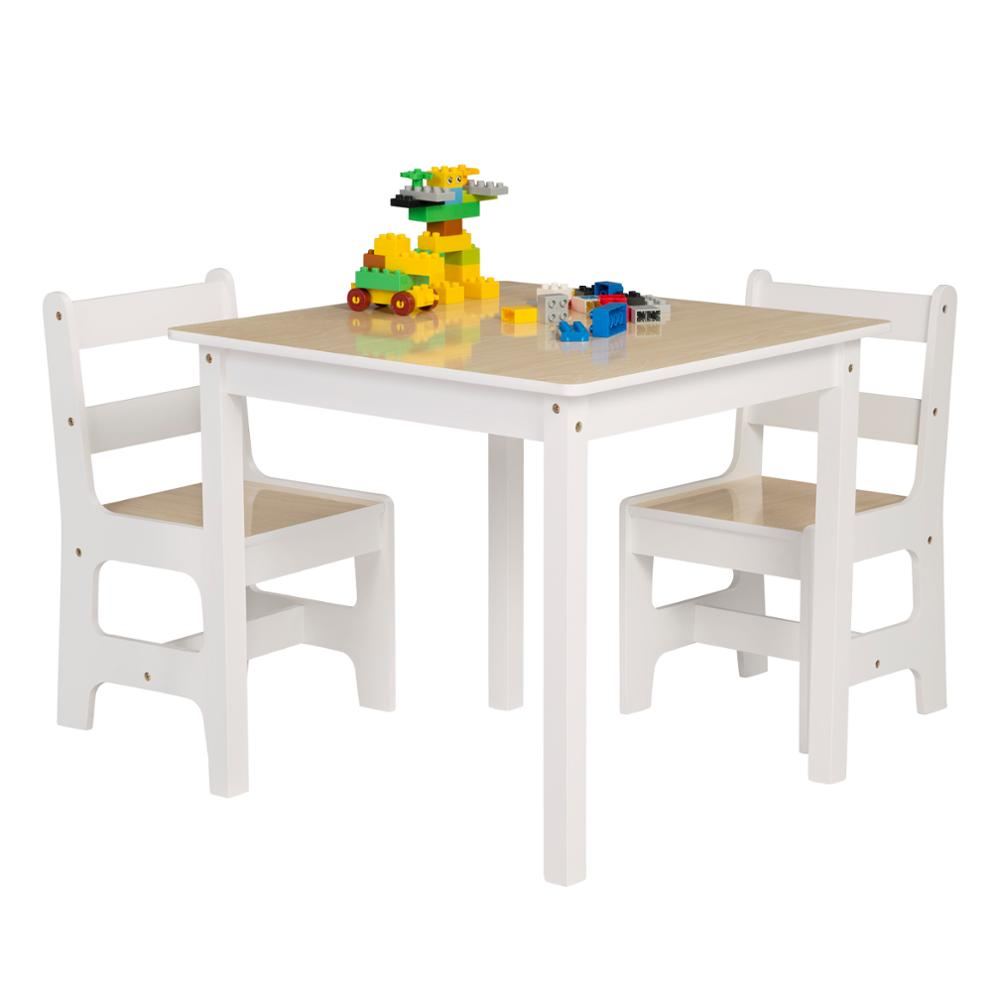 1SET Wooden Toddler Table Chairs Children's Desk Table with 2 Chairs Stools Set for Preschoolers Boys Girls Activity Build Play