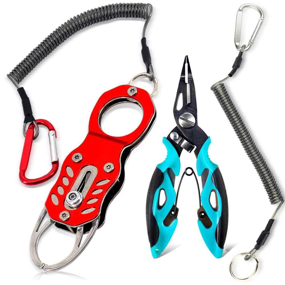BXIO Stainless Steel Fishing Pliers Fish Grip Tools Set, Fish Lip Gripper, Braided Lines Cutters, Split Ring, Hook Removers