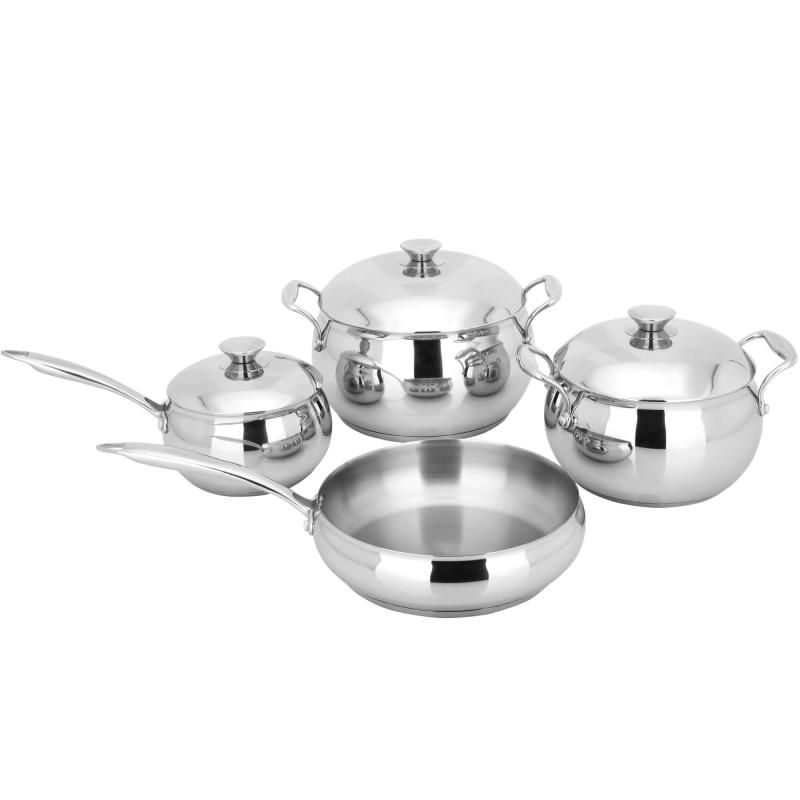 лучшая цена Cookware set GEMLUX GL-R4SET (skillet 1.5l casserole 3l and 5l 24 cm frying pan, stainless steel the bottom of the sandwich, r