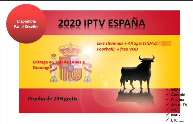 One year IPTV suscription Spain Channels sport DA Z N NB A Football M3U Android Smart TV  MAG VLC Free VOD FHD HD stable 100%