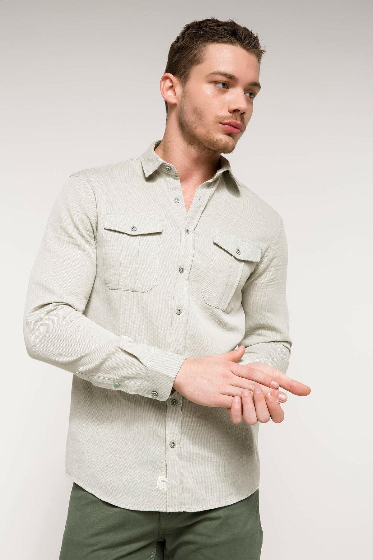 DeFacto Casual Man Long Sleeve Shirt Male Fashion Pockets Shirts High Quality Simple Tops Spring  - I6399AZ18SM