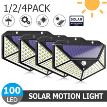1/2/4pcs 100 LED Outdoor Solar Light Waterproof 4-side Sunlight Powered Lamp PIR Motion Sensor Wall for Garden Decor