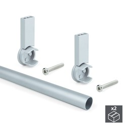 Kit 2 aluminum tubes D. 28x950mm braces Keeper Emuca for wardrobe in finish color Gray