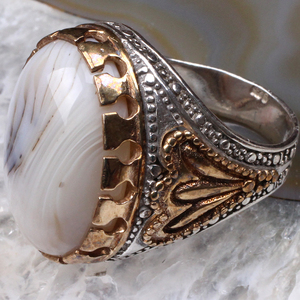 White Agate Silver Ring, Handm