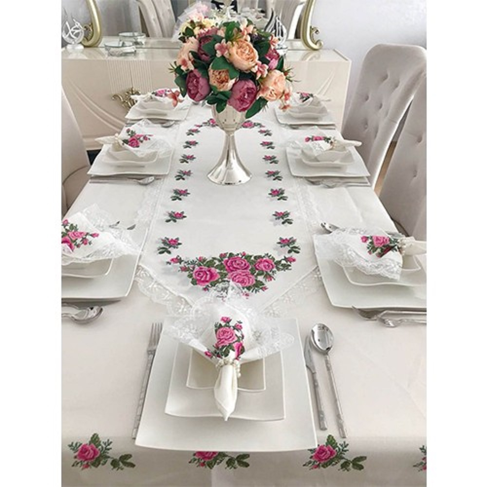26 Pcs Luxurious Table Cloth Set Made In Turkey Pink Rose Embroideried Lace Tablecloths Table Runners Ring Dinner Napkin