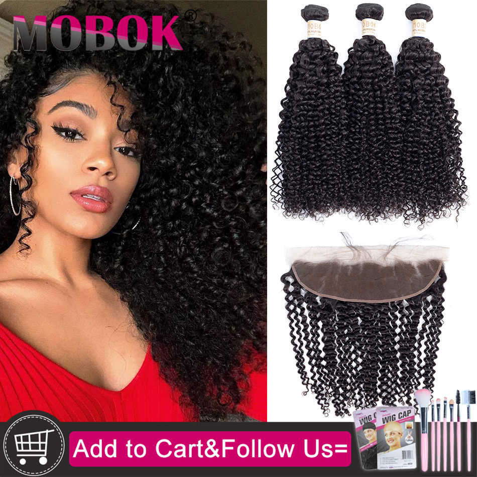 MOBOK Kinky Curly Bundles With 13x4 Frontal Remy Human Hair Bundles With Closure Brazilian Hair Weave Bundles With Closure