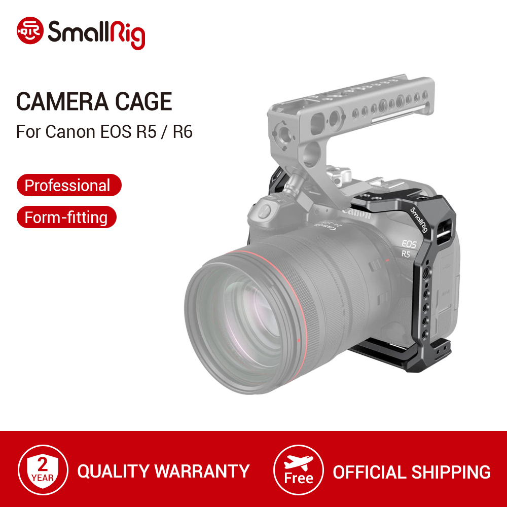 SmallRig Camera Cage For Canon EOS R5 and R6 Dslr With NATO Rail amp Cold Shoes amp ARRI-style Mounts Video Shooting DIY Cage  -2982