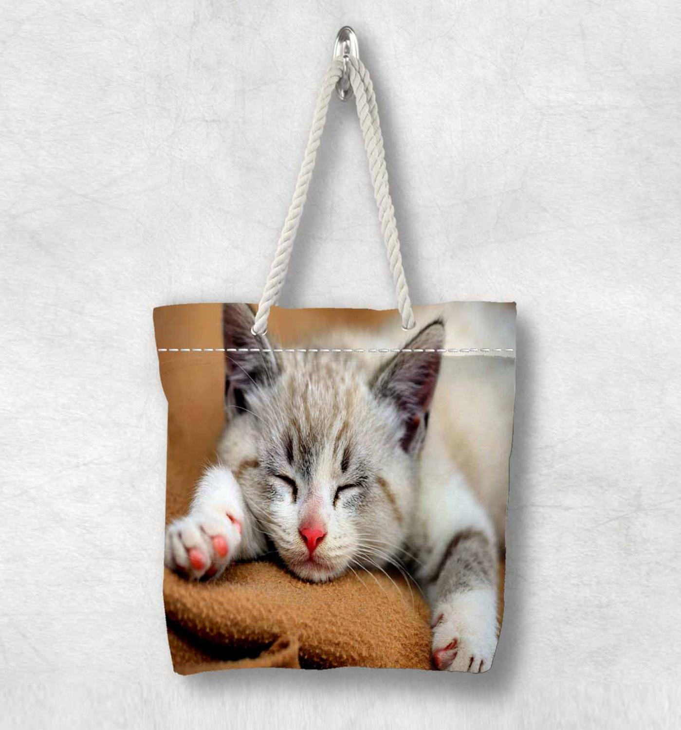 Else Gray Little Cute Sleepy Cat New Fashion White Rope Handle Canvas Bag Cotton Canvas Zippered Tote Bag Shoulder Bag