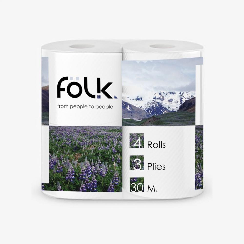 Toilet Paper FOLK 3 Layer-4 Pcs Per Pack 27 Meters 100% Cellulose