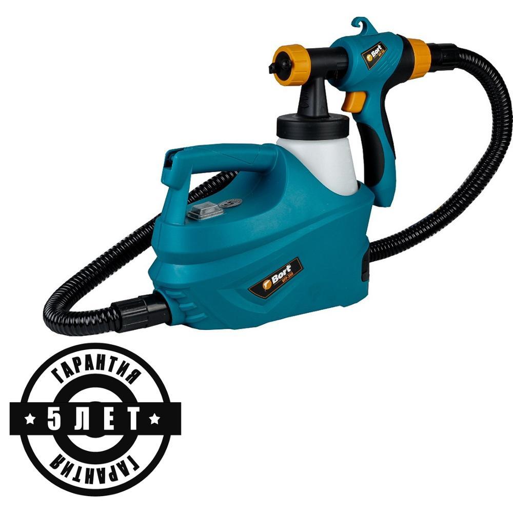 цена Bort Spray Gun High Power Electric Paint Sprayer Nozzle Easy Spraying Air Spray Gravity Feed Airbrush Kit HVLP BFP-350 онлайн в 2017 году