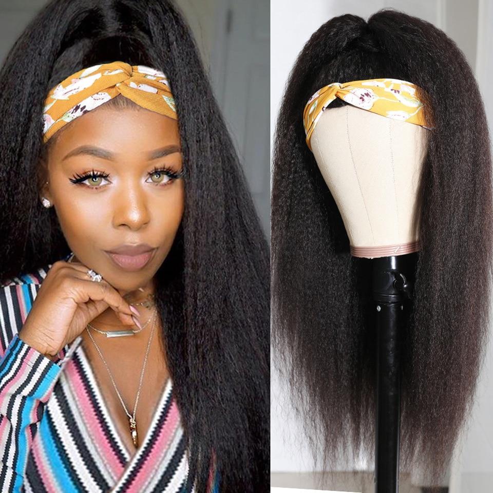 Kinky Straight Headband Wig Brazilian Hair Wigs With Elastic Band For Black Women Glueless Full Machine Made Human Hair Wigs