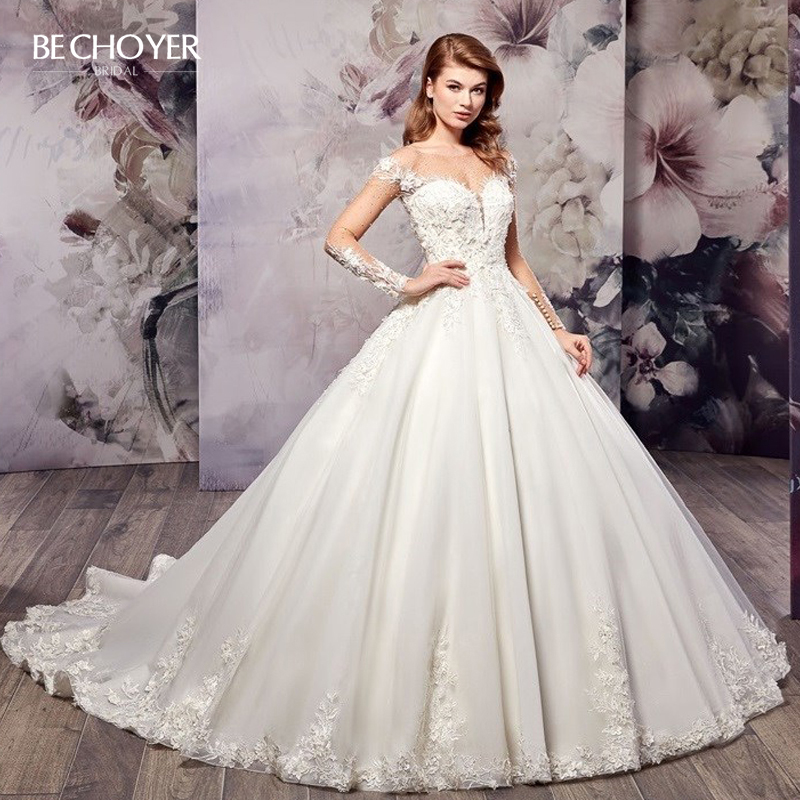 Luxury Beaded Long Sleeve Wedding Dress BECHOYER AX10 Appliques A-Line Illusion Court Train Princess Bride Gown Vestido De Noiva