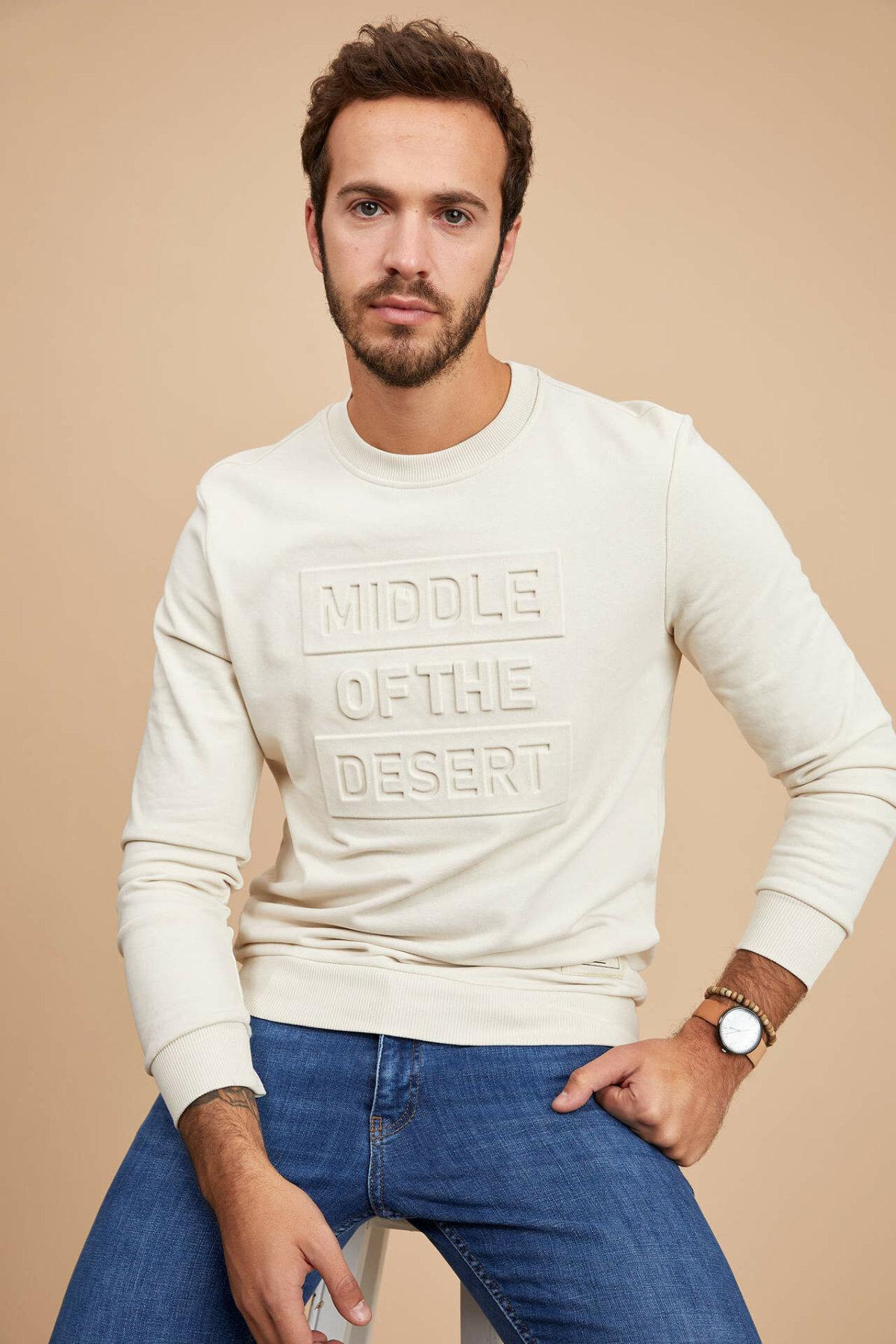 DeFacto Man's White Sweatshirt Men's Casual Hoodies Long Sleeve Hoodie For Men Spring Men Sweatshirt -M5413AZ20SP