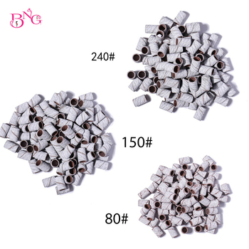 100Pcs/Pack #80 #150 #180 #240 Sanding Bands Zebra Sand Ring Bit Manicure Pedicure Nail Electric Drill Machine Grinding Remover