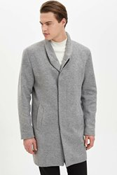 DeFacto Man Winter Light Grey Parka Coats Men Smart Casual Long Top Coat Men Warm Thick Parkas-L2761AZ19WN