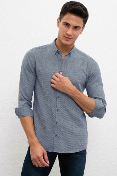 U.S. POLO ASSN. Blue Dobby Slim Shirt