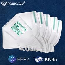 Kn95 máscara protetora reutilizável ffp2 máscaras respirador 5 camada filtro pm2.5 adultos segurança boca máscara powecom boca muffle