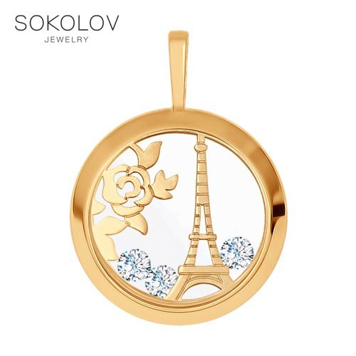 Suspension SOKOLOV Gold Engraved Fashion Jewelry 585 Women's Male