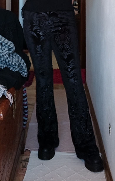 Velvet Gothic Pants with Floral pattern photo review